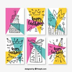 Set of six birthday cards in memphis style Free Vector