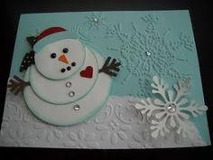 Circles #2 Die Cut Snowman with Northern Flurries Embossing Folder