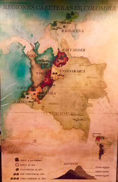 Regiones productoras de #café en Colombia. #coffe Coffee Art, Cigars, Bella, Art Deco, Posters, Painting, World, Home, Colombia Map