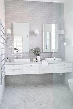 New Bath Room Tiles Grey Flooring Sinks Ideas Best Bathroom Tiles, Grey Bathrooms, Bathroom Colors, White Bathroom, Bathroom Flooring, Small Bathroom, Bathroom Ideas, Bathroom Marble, Kitchen Tiles