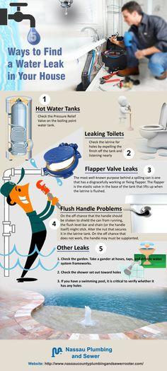 Five Ways to Find a Water Leak in Your House •Hot Water Tanks   Check the Pressure Relief Valve on the boiling point water tank.   •Leaking Toilets   Check the latrine for holes by expelling the finish off the tank and listening nearly   •Flapper Valve Leaks   The most well-known purpose behind a spilling can is one that has a disgracefully working or fixing flapper. The flapper is the elastic valve in the base of the tank that lifts up when the latrine is flushed.   •Flush Handle…