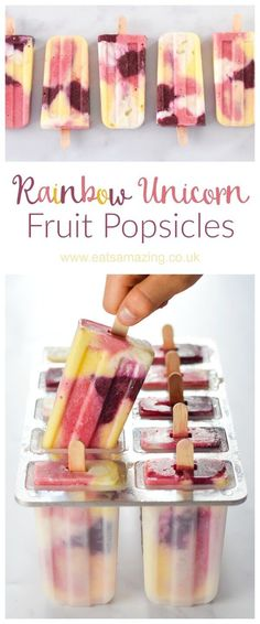 Healthy Unicorn Rainbow Fruit Popsicles recipe - These beautiful all natural pop. Healthy Unicorn Rainbow Fruit Popsicles recipe - These beautiful a. Kids Cooking Recipes, Kids Meals, Cooking Games, Cooking Classes, Cooking Bacon, Cooking Oil, Cooking Light, Rainbow Fruit, Healthy Snacks For Kids