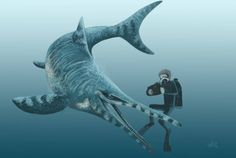Diving with Acuetzpalin by HodariNundu on DeviantArt Dinosaur Fight, Dinosaur Life, Prehistoric Wildlife, Prehistoric Creatures, Jurassic Park, Jurassic World Wallpaper, Sea Dinosaurs, Megalodon, Dinosaurs