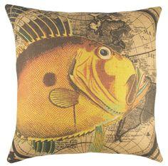 Map with Fish Burlap Throw Pillow