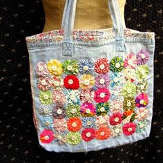 Upcycled Lined Tote/Market Bag with Vintage Yo-Yos, Mother of Pearl Buttons, and Beaded Ric-Rac - Denim Diy Denim Tote Bags, Denim Crafts, Recycled Denim, Patchwork Bags, Fabric Bags, Mother Of Pearl Buttons, Market Bag, Handmade Bags, Bag Making