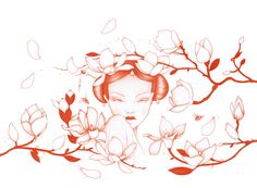 """""""Spring Embrace"""", red colour pencil work by artist Jodie Fiala"""