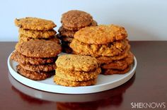 Assortment of Cookies for breakfast! - Uses peanut butter, bananas, oats, high fiber cereal and protein power.