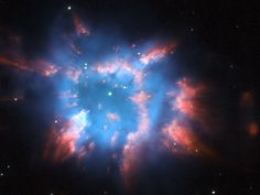 NGC 6326 : Planetary Nebula - Located some 11,000 light-years away in the constellation Ara, NGC 6326 is moving away from Earth at a speed of 6.64 miles per sec (10.7 km/per sec). Three filters were used on Hubble's Wide Field Planetary Camera 2 - red / hydrogen - green / blue ionized oxygen - yellow / green areas and stars