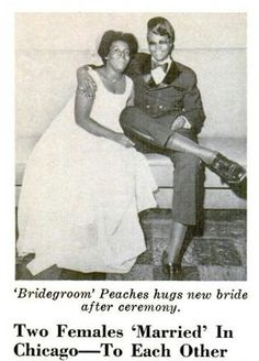 Newly weds Edna Knowles and Peaches Stevens. They were the first lesbian couple featured in Jet Magazine for the October 15, 1970 issue.