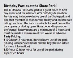 Park and Facilities Rentals - El Dorado Hills Community Services District Hill Park, Skate Park, Community Service, Great Places, Birthday Parties, Real Estate, Anniversary Parties, Birthday Celebrations, Non Profit Jobs