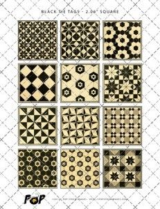 $2.00 Instant Download    Discovered within the pages of a long-forgotten catalog, this collection of ceramic tile designs immediately caught my eye. Featuring black, ecru, taupe and a punch of red, this set of 12 tags can be printed as many times as you wish — and my guess is that you'll find LOTS of uses for them.