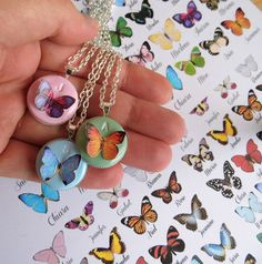 Initial necklace, personalized butterfly necklace. Choose your butterfly.  Materials: polymer clay, paper, gloss resin, nickel free metal
