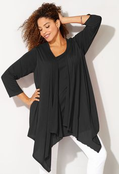 Get the layered look with lightweight knit fabric work tops like the plus size Hatchi 2fer Cardigan available online at avenue.com. Avenue Store