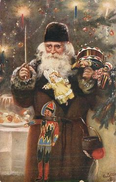Set Title:	CHRISTMAS brown coated Santa Set Comment OILETTE, PROCESSED IN BAVARIA, come with Christmas greetings in brown on back Sold As:	set of 3 cards  many toys, prominent puppet & doll, bowl of fruit left