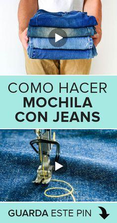 Mochila Jeans, Blue Jean Purses, Mini Mochila, Denim Tote Bags, Sewing Stitches, Recycled Denim, Womens Purses, Refashion, Blue Jeans