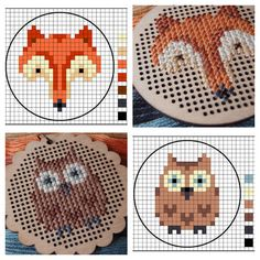 DIY Easy Fox and Owl Cross Stitch Patterns from Lucykate Crafts… These designs would be really cute as patches. You can buy the rather expensive pendants here. For the most amazing cross stitch generator ever go here.For cross stitch DIYs go here:truebluemeandyou.tumblr.com/tagged/cross-stitch Fox Pattern here. Owl Pattern here.