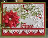 Large Die-Cut Poinsettia Christmas Card - Wishing You Peace