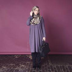 INAYAH | Brown Tone Floral #Hijab + Charcoal Cocoon #Midi + Black Crossover #Trousers www.inayahcollection.com