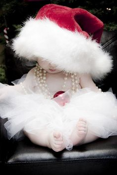 kids christmas outfit ideas  Merry Christmas mamas! We love this adorable Christmas baby, mini fashionista, pearls, santa hat