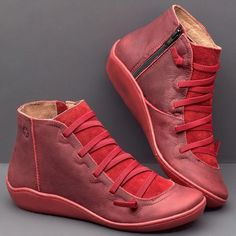 Buy Women Medieval Vintage Leather Boots Flat Heel All Seasons Boots Waterproof Slip-on Shoes Ladies Winter Round Toe Ankle Boots sapatos femininos 5 Colors Size at Wish - Shopping Made Fun Flat Heel Boots, Ankle Heels, Leather Ankle Boots, Pu Leather, Ankle Booties, Wedge Heels, Casual Boots, Loafers For Women, Short Boots