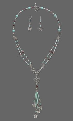 "Jewelry Design - Double-Strand Necklace and Earring Set with Swarovski Crystal and Antiqued Silver-Finished ""Pewter"" Charm and Beads - Fire Mountain Gems and Beads"