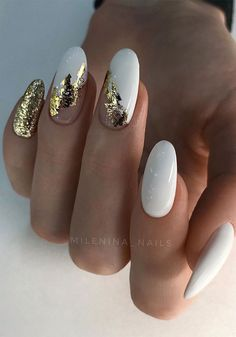 Foil Nail Art, Foil Nails, Nails With Foil, Stylish Nails, Trendy Nails, White Nails With Gold, Nude Nails With Glitter, Black And White Nail Art, Pink Glitter