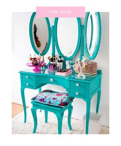 Put a twist on the traditional vanity by choosing a bright color scheme