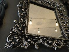 Vintage Framed Crazy Ornate Mirror bronze silver Hollywood Regency Paris Apartment French Country