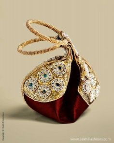 Gorgeous embroidered 'Potli' Bags by Kada Potli Maroon) via Bridal Clutch, Wedding Clutch, Indian Accessories, Fashion Accessories, Potli Bags, Unique Purses, Embroidered Bag, Beaded Bags, Denim Bag