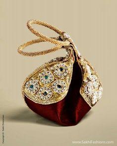 Gorgeous #Embroidered 'Potli' #Bags by @Sakhi Fashions (AC-0009 Kada Potli Maroon)