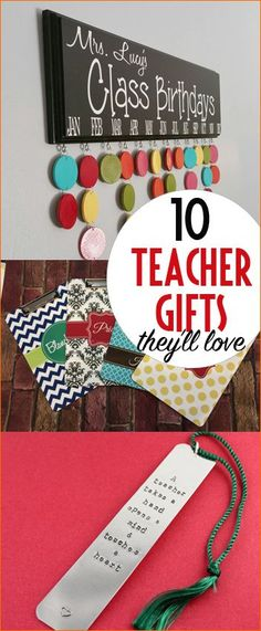 """10 Teacher Christmas Gifts.  Fun personalized teacher gifts they'll actually like!  Teacher appreciation gifts from the heart.  """"Punny"""" Christmas teacher gifts."""