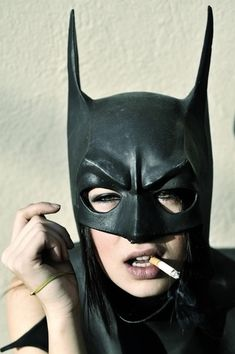 Oh Batgirl! Please put down that cancer stick! You know smoking isn't good for you! And you'll feel far more SUPER with clear lungs! Nananana Batman, Batman Mask, Batgirl Mask, Batman Batman, Batgirl Costume, Batman Robin, Batwoman, Looks Cool, Black And White Photography