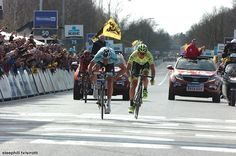 Tour of Flanders - The three worked together well and stretched out a lead of almost 1 minute before some cat and mouse then a two man sprint!