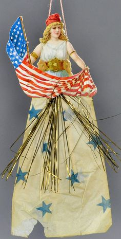 Made in Germany, an embossed Patriotic figure with a crepe paper dress. Patriotic Decorations, Christmas Tree Decorations, Christmas Tree Ornaments, American Spirit, American Flag, Patriotic Symbols, Antique Christmas, Crepe Paper, Vintage Paper