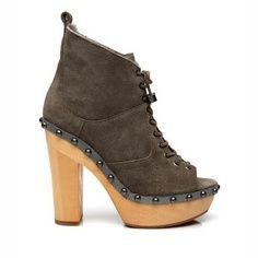 Wooden lace up booties