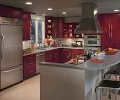 Burgundy color has long been considered as a sign of luxury and sophistication. Very often it has been used for decoration of rich houses and royal chambers. Maple Kitchen Cabinets, Kitchen Cabinets In Bathroom, Kitchen Dining, Kitchen Decor, Dining Room, Kitchen Ideas, Luxury Homes Interior, Luxury Home Decor, Homecrest Cabinets
