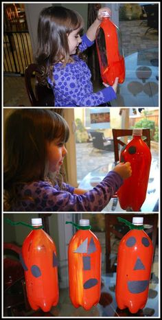 Use soda bottles, paint and construction paper to create these fun pumpkin decorations.