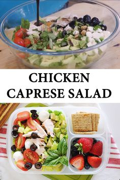 This chicken caprese salad is healthy, fresh and a delicious way to spend your lunch. Easy to prep ahead you can make a Healthy Lunches For Work, Work Meals, Prepped Lunches, Healthy Foods To Eat, Healthy Snacks, Healthy Eating, Salads For Lunch, Easy Healthy Meal Prep, Clean Lunches
