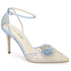 pointed toe heel with sheer mesh embroidered with beading and fabric flowers