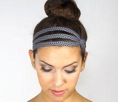 Gray headband,  retro dot, black dot, fashionable headband