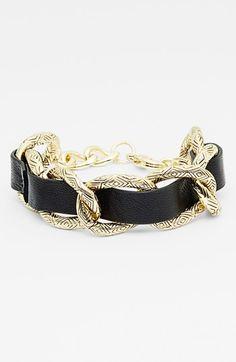 House of Harlow 1960 Link & Leather Bracelet | Nordstrom