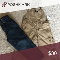 OshKosh overalls and jeans! 4t khaki Oshkosh overalls and jeans. Both new overalls have tags and jeans don't. From a pet and smoke free home. OshKosh B'gosh Bottoms Jeans