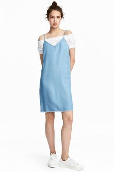 Джинсовое платье из лиоцелла - Светло-голубой деним - Женщины   H&M RU 1