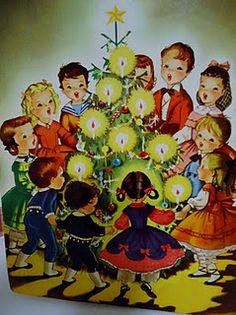 Vintage Christmas card with singing Christmas carols around the tree! (1/2/2014)  Christmas (CTS)