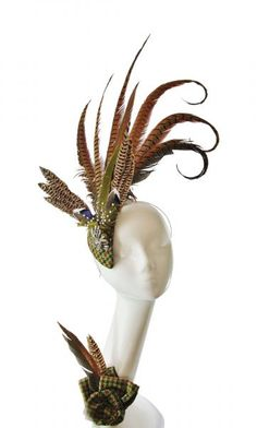 Tweed and pheasant feather fascinator commission by The Libertarian Millinery