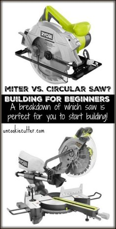 or Circular Saw? A Breakdown for Beginning Builders Miter or Circular Saw? What's the difference and which one is best for beginning builders? Miter or Circular Saw? What's the difference and which one is best for beginning builders? Woodworking Projects For Kids, Woodworking Clamps, Fine Woodworking, Wood Projects, Woodworking Techniques, Woodworking Patterns, Popular Woodworking, Carpentry Projects, Woodworking School