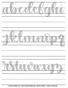 Hand Lettering Practice Sheets Brush Pen por HappilyEverHart