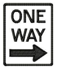One Way Right Sign Applique - 4x4 | Transportation-other | Machine Embroidery Designs | SWAKembroidery.com HeartStrings Embroidery