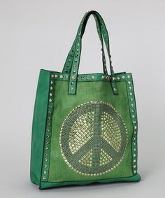 Take a look at this Green Stud Peace Tote by Bali Belts Studio on today! World Peace Day, Studio Green, That Look, Take That, Belts, Sisters, Shoulder Bag, Shoulder Bags