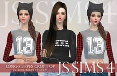 JS Sims 4: Long-Sleeves Crop Top • Sims 4 Downloads